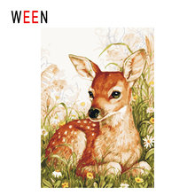 WEEN Grass Diy Painting By Numbers Abstract Deer Oil On Canvas Animal Cuadros Decoracion Acrylic Wall Art Home Decor