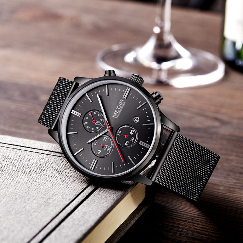 MEGIR Fashion Men's Business Quartz Watch Casual Stainless Steel Band Wristwatch Men Dress Watches Relogio Masculino 2011G