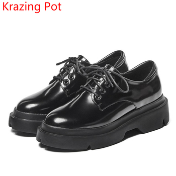 2018 genuine leather casual shoes women round toe lace up preppy style pumps thick heel superstar increased spring shoes L15