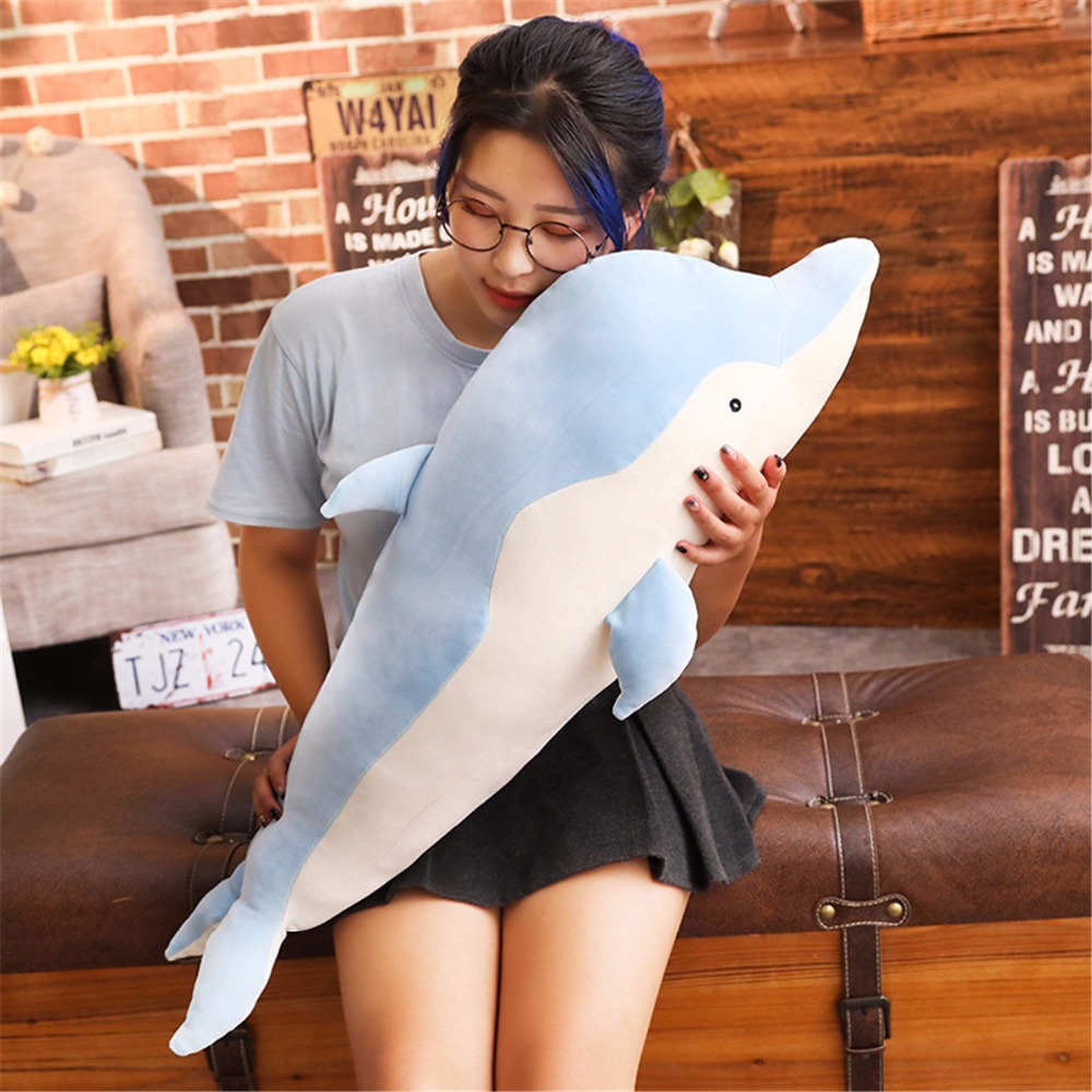 1pc 90cm Dolphin Soft Pillow Doll Baby Cute Dolphin Stuffed Plush Infant Lovely Animal Appease Toy Girl's Birthday Gift Home Dec cute bunny soft plush rabbit stuffed animal toy appease baby bed pillow toy kids baby girls kawaii kid baby birthday gift