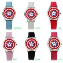 Мультфильм Красивая девушка Капитан Америка щит стиль номер Цвета циферблат дети студенты девушки кожа кварцевые часы