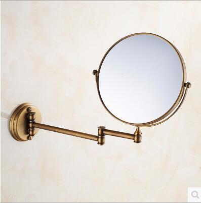 European classical home decoration All copper antique European beauty mirror authentic vintage triple-sided magnifying mirror