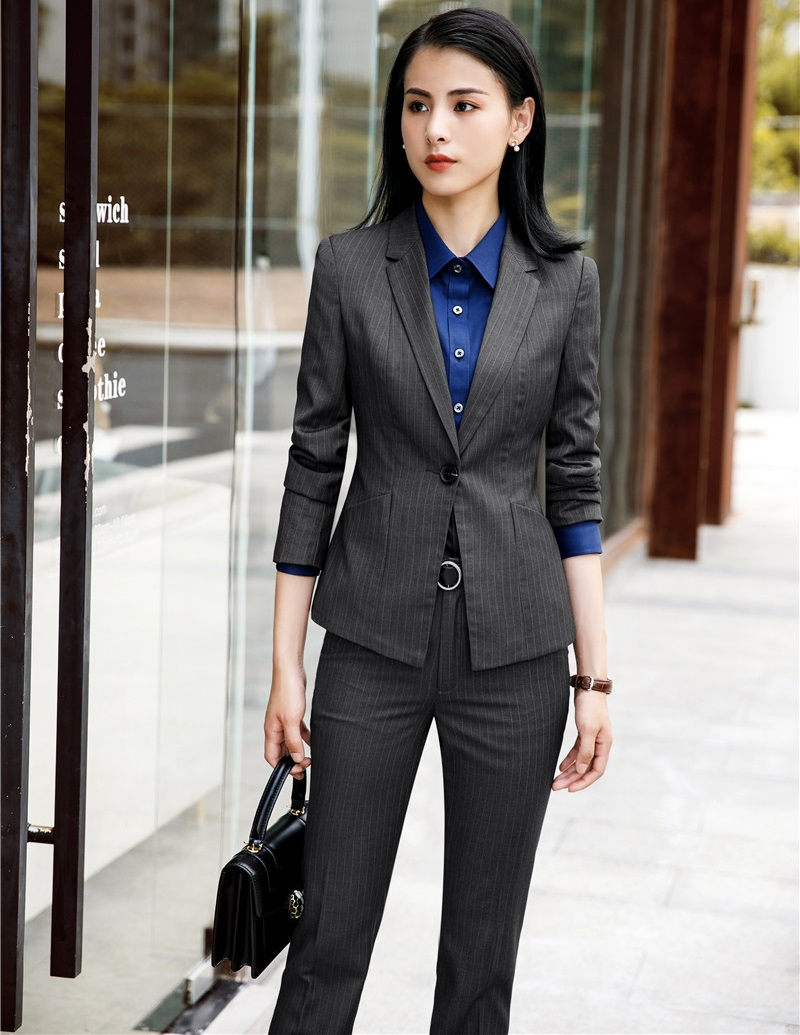 Femme Rayé D'affaires Haute Femmes Pantalons De Travail Vêtements Ensembles Striped Styles Tissu Vestes black Striped Ol Qualité Et Mode Grey Bureau Pantalon Costumes wvZqzFI4rZ