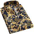 Homens Camisa 2017 Verão Nova Mens Smoking Qualidade Luxuoso Impressão Camisa Casual Masculino Longo-Luva Camisas de Vestido Da Marca