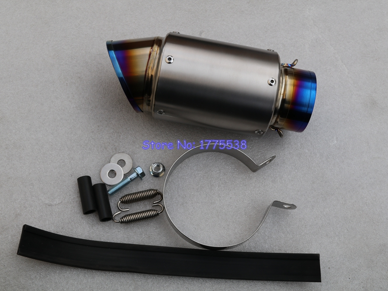 Large Displacement Motorcycle GP Exhaust Pipe Muffler Escape ID:51mm/54mm/61mm/63mm/65mm Titanium Alloy Muffler with Spare Parts