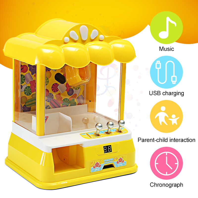 Mini USB Doll Machine Grab Ball Coin Candy Catcher For Kids Children Christmas Party Fun Toys Durable Convenient Clip?Doll Candy free shipping deli 0451 candy color stitching machine set mini stapler belt clip staples attached manual mini stapler