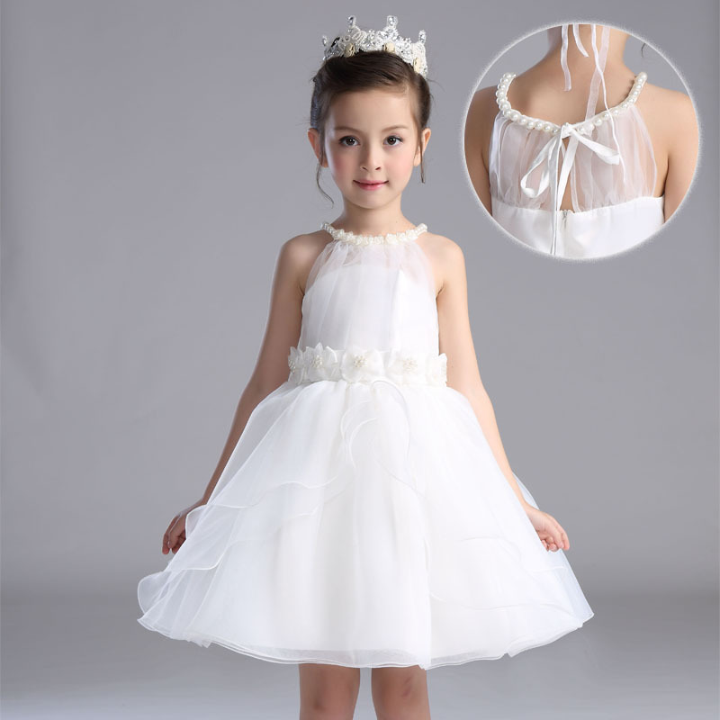 White girl dress pearl neck party wear flower girl vestido for 10 year old dresses for weddings