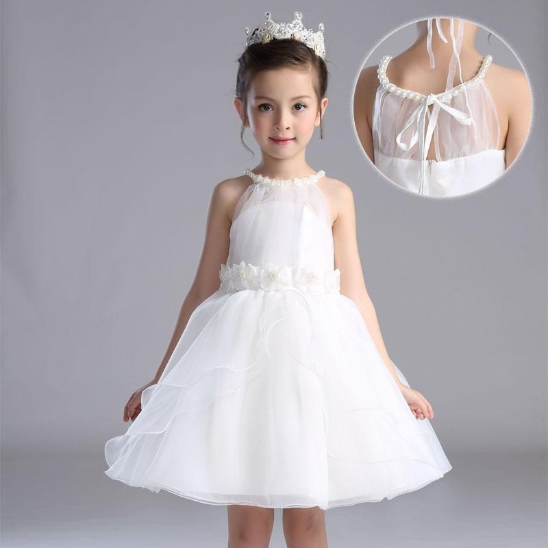 White Girl Dress Pearl Neck Party Wear Flower Girl Vestido