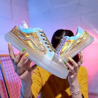 Spring New Colorful Face Transparent Single Shoe Crystal Sole Tie Water Drill Sneaker Girl