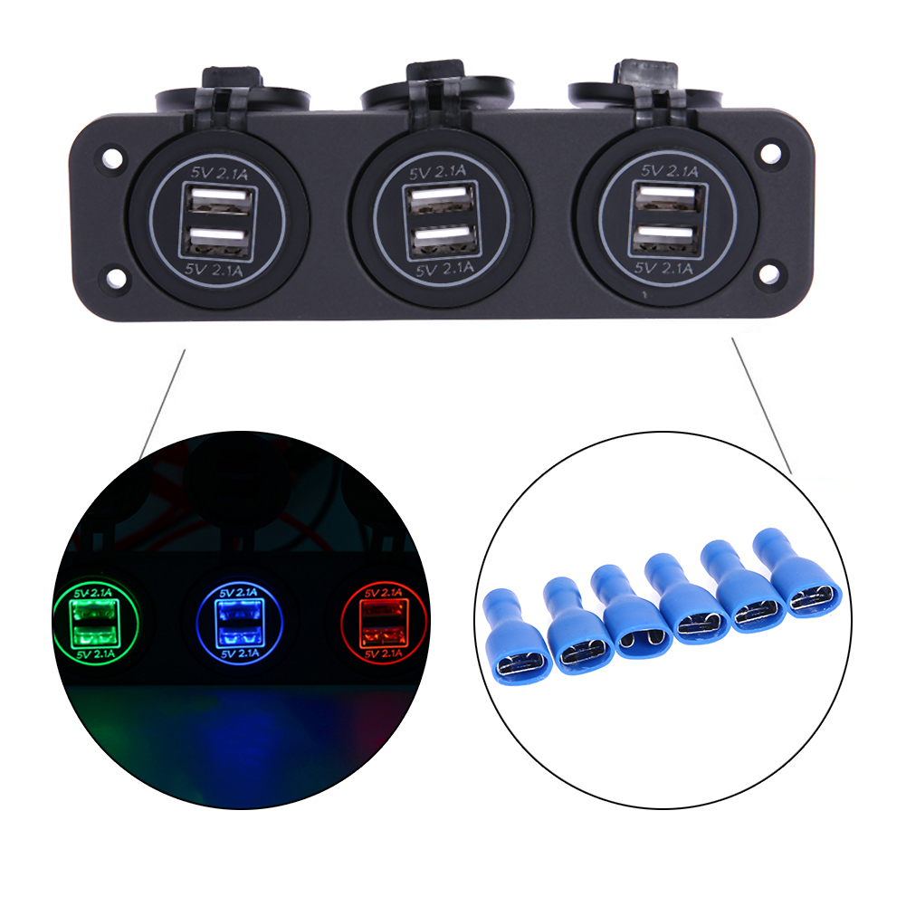 Waterproof 4 2A 3 USB Ports Car Phone Charger Led Color Iris Modified Refit Accessories for