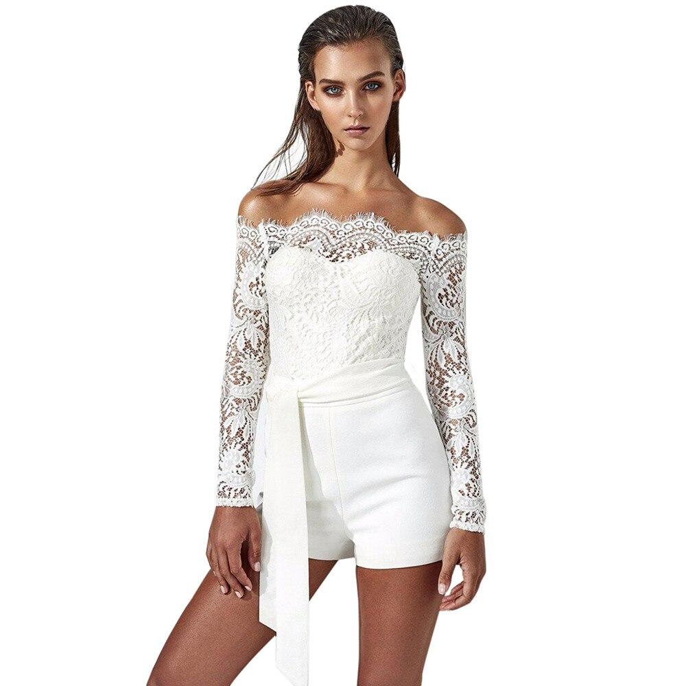 CHAMSGEND jumpsuit 2018 New Fashion Summer Womens Ladies Autumn Off Shoulder Playsuit Romper Shorts Jumpsuit Trousers June29