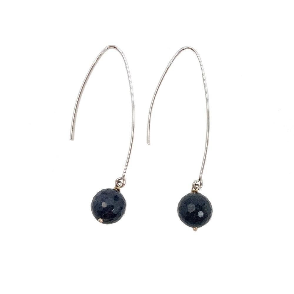 Lii Ji Natural Blue Sapphire beads 925 Sterling Silver Drop Long Earrings Lii Ji Natural Blue Sapphire beads 925 Sterling Silver Drop Long Earrings