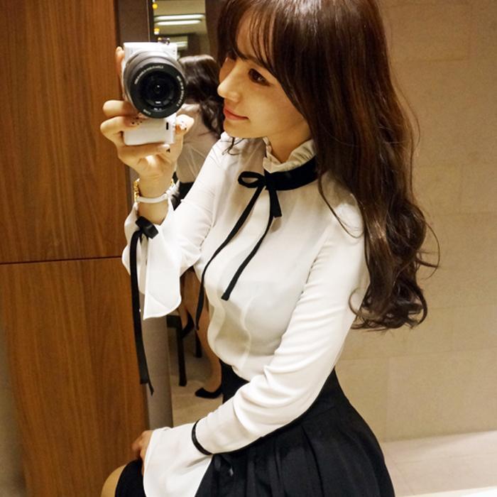 Spring 2016 Ruffles Women blouse New fashion Slim OL White shirt Sweet bow Tops Long sleeve shirt Casual blusas blouse