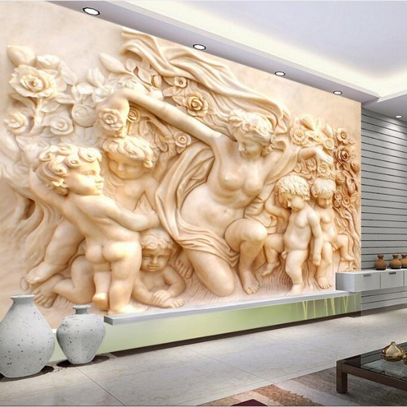 Wellyu Custom-made Large-scale Murals HD Luxury Villa European Angel Cupid Relief TV Backdrop Non-woven Wallpaper