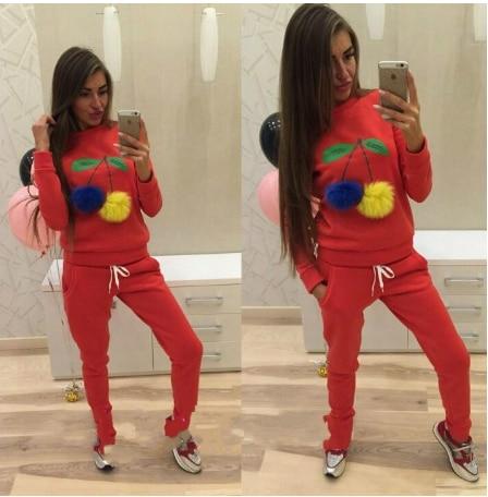 2016 Autumn Hoodies & Sweatshirts Women Colorful Cherry Plush Ball Long sleeve O-neck Causal Tracksuit Ladies Bts Women Hoodies