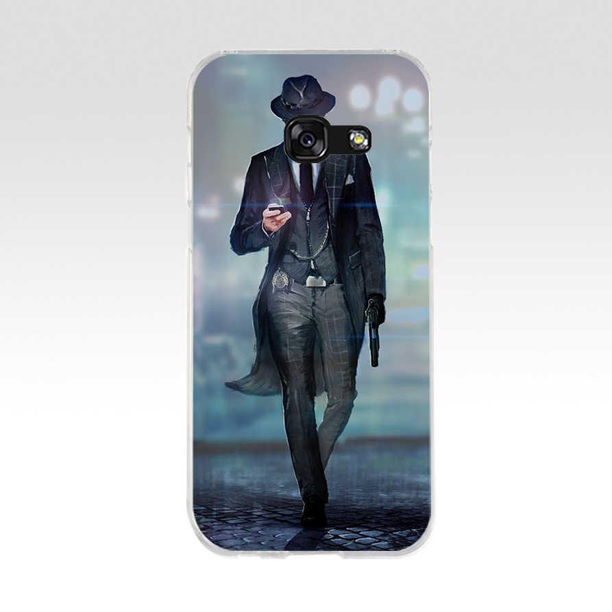 107WE темный костюм человек-загадка para чехол для телефона из мягкого силикона ТПУ с рисунком крышка чехол для телефона для samsung A3 A5 2016 A3 A5 2017 A7 A8 2018 A50