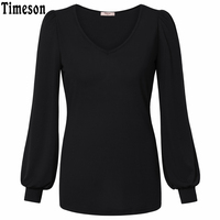 Timeson Women Shirt Casual Tops Long Sleeve Shirt Office V Neck Blouses Simple Spring Summer Plus