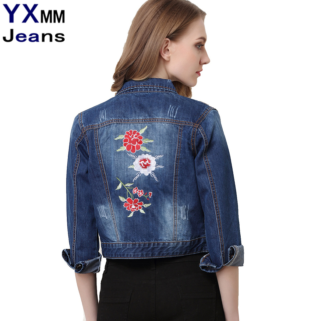 ba03c7c9c233e YXMM Plus Size Women Spring Solid Blue Cotton Denim Jacket Light Washed  Woman Collar Long Sleeve Embroidery Jeans Coats