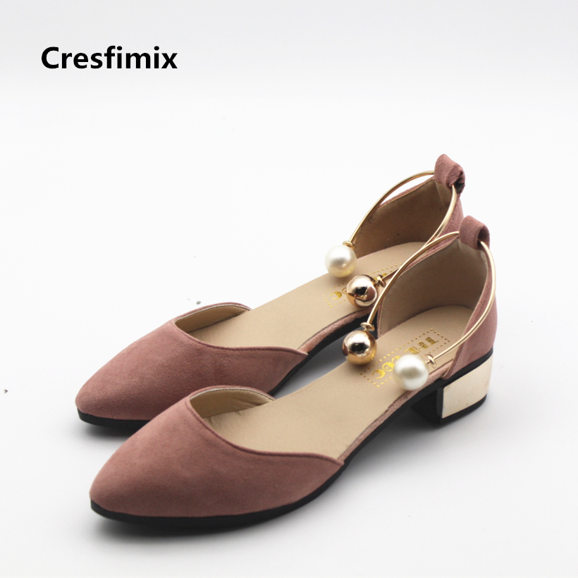 Cresfimix zapatos de mujer women fashion spring and summer slip on high heel shoes with pearl bead lady cute slip on high heels cresfimix women cute spring