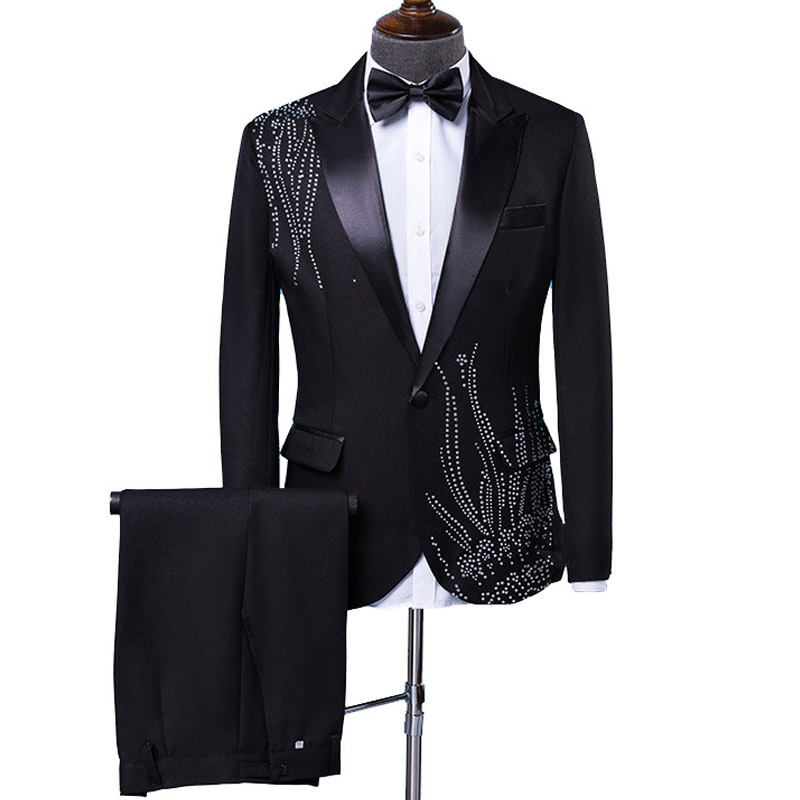 YUSHU Mens Stylish Stick Rhinestone Design Suit Stage Singer Wedding Groom Suit Men Costume Homme Black White Terno Masculino