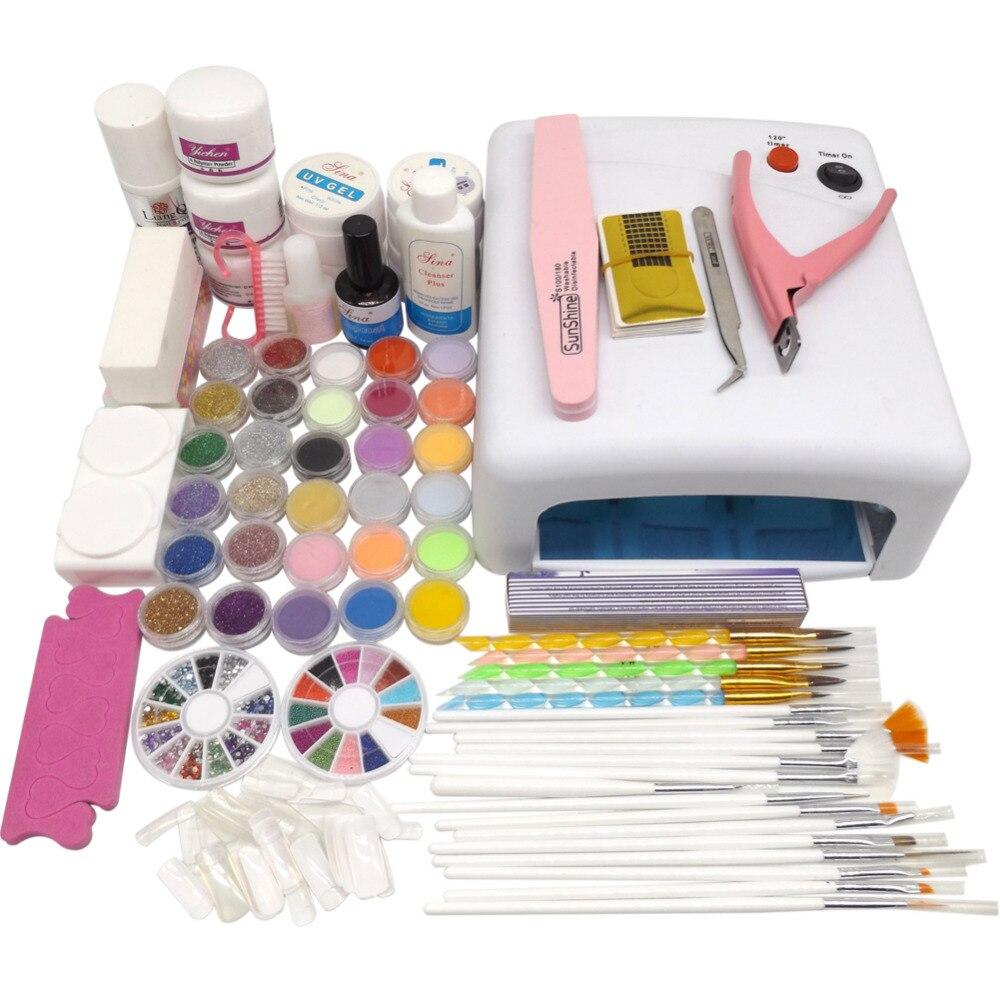 Lámpara de secado UV 36W 18 polvo acrílico de color Rhinestones Kit de Gel UV de manicura conjunto de herramientas de Gel