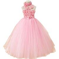 Pink Flower Tutu Dress For Baby Girls Wholesale Retail Summer Handmade Flower Girls Tutus With Headband