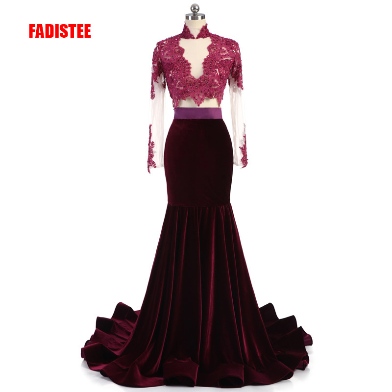 FADISTEE New arrive party   prom     dress   Vestido de Festa luxury beading high-neck appliques long gown full sleeves velour style