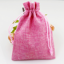 Christmas Wedding Favor Decoration Gift Jute Bags 100pcs lot Pink 15x20cm Jewelry Candy Handmade Packaging Pouches