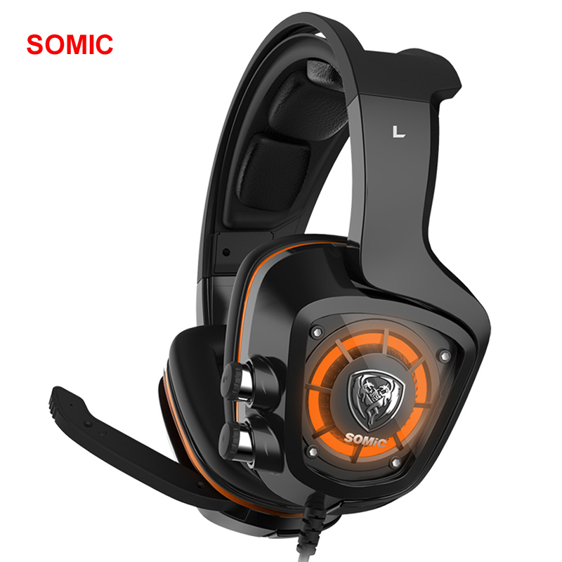SOMiC G910 Original USB 7.1 Surround Sound Gaming Headset with Mic LED light Smart Vibration Over-ear PC Headphone Dual Mode