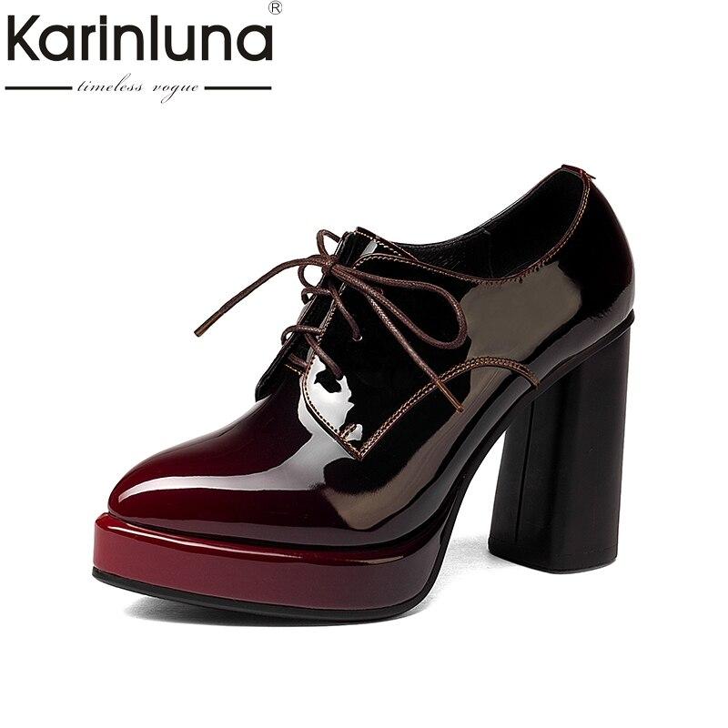Karinluna 2017 tamaño grande 33-43 Cuero auténtico mujeres Zapatos mujer sexy plataforma Tacones altos Encaje partido boda Bombas