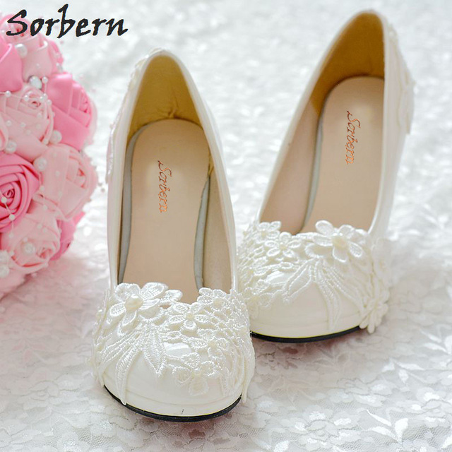 Sorbern Elegant White Lace Wedding Shoes Med High Heels Round Toe Beads  Womens Shoes Heels Patent 5f95f2fa6e1d