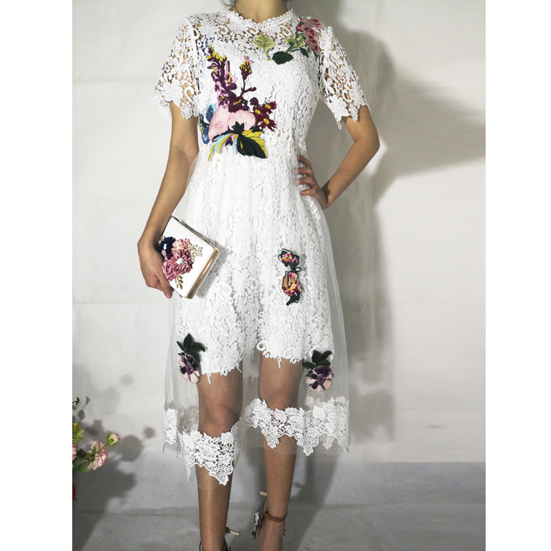 High quality summer dress 2019 woman party night dress Lace mesh embroidered appliqued Mid Calf white