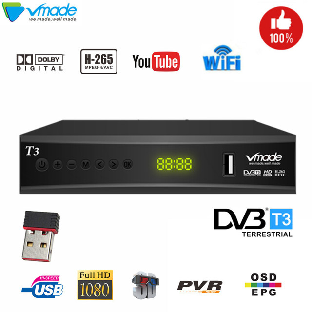 최신 DVB T2 디지털 지상파 tv 수신기 지원 h.265 youtube dobly DVB T3 tv box usb 2.0 scart tv 튜너 (usb wifi 포함)