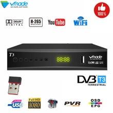 Nieuwste DVB T2 digital Terrestrial tv ontvanger ondersteuning voor H.265 YouTube dobly DVB T3 tv box USB 2.0 Scart tv tuner met USB wifi
