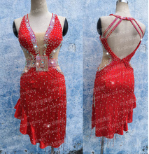 Latin Dance Dress Girl Latin Dancewear rumba samba Clothing Salsa Dresses  Stage Wear Halter latin performance dress,red