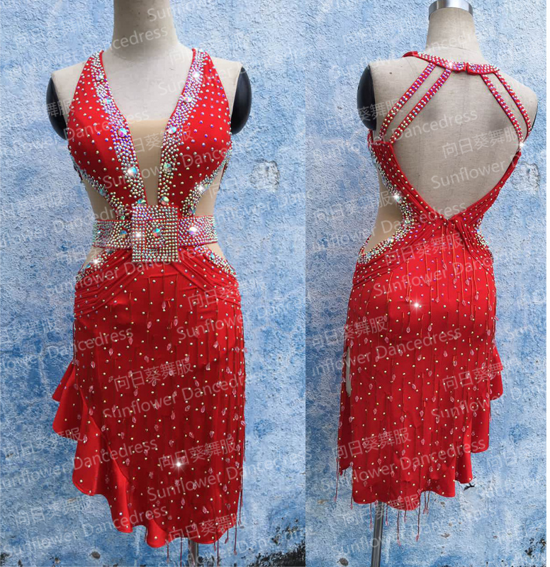 Robe de danse latine fille danse latine vêtements rumba samba robes Salsa vêtements de scène licou robe de performance latine, rouge