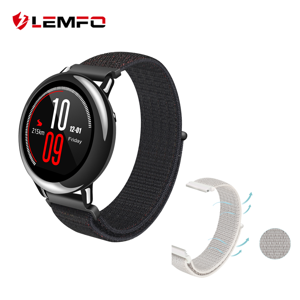 LEMFO Smart Accessories For Xiaomi Huami Amazfit Pace Smartwatch Band High Quality Nylon 20mm Replacement Amazfit Bip Strap huami amazfit pace replacement strap black green