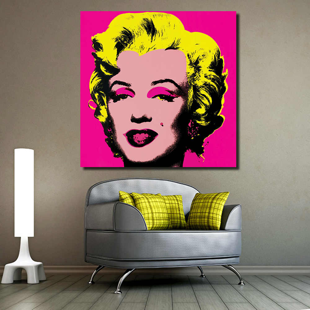JQHYART Marilyn Monroe Andy Warhol Pop Art Figure Living Room Modern Wall Art Painting Picture Home Decor Canvas Print No Frame