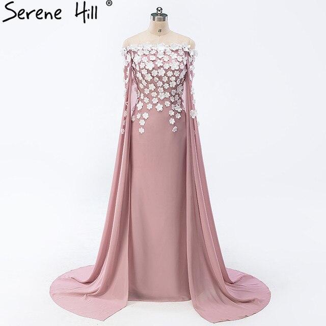 6f062a9f4c Wspaniały Off Shoulder suknie wieczorowe z szal kryształ ręcznie robione  kwiaty z długim rękawem syrenka Prom
