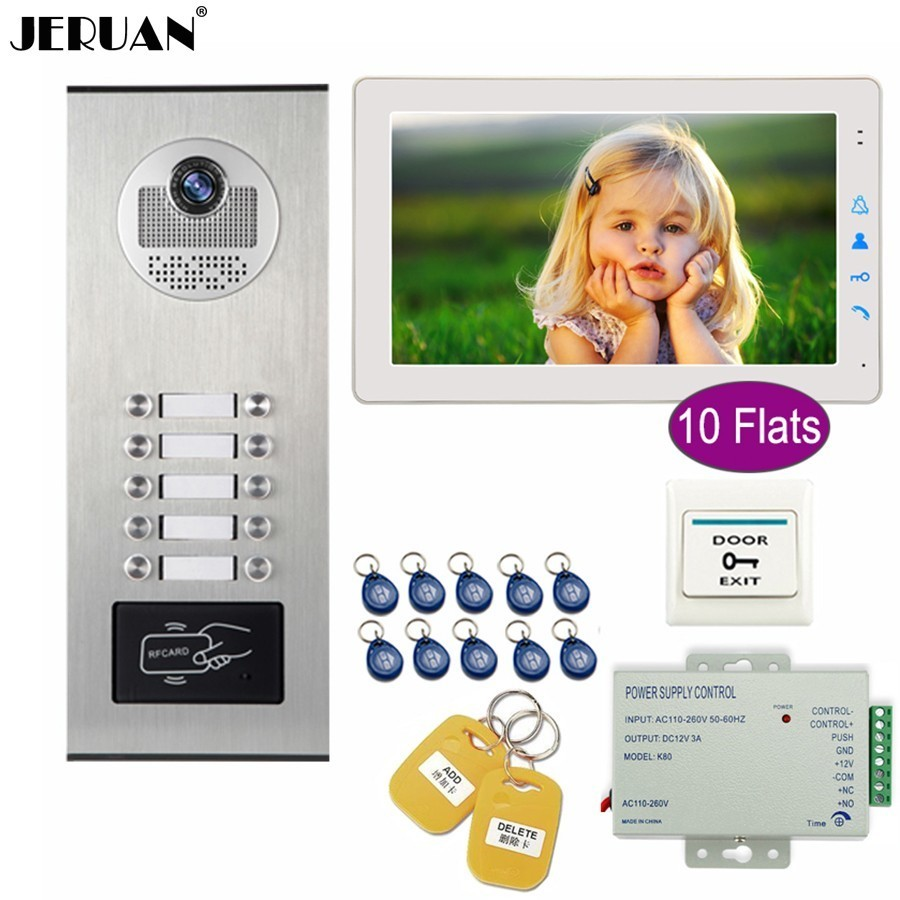 JERUAN Apartment 9 inch Touch key LCD Video Door Phone Doorbell Intercom System Kit HD RFID Access Camera For 10 Households jeruan wired 9 inch video doorbell door phone intercom system kit hd rfid access camera for 6 households apartment in stock