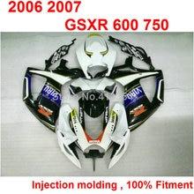 Motorcycle ABS plastic fairings for Suzuki injection GSXR600 2006 2007 white blue black fairing kit GSXR 750 K6 K7 06 07 TN29