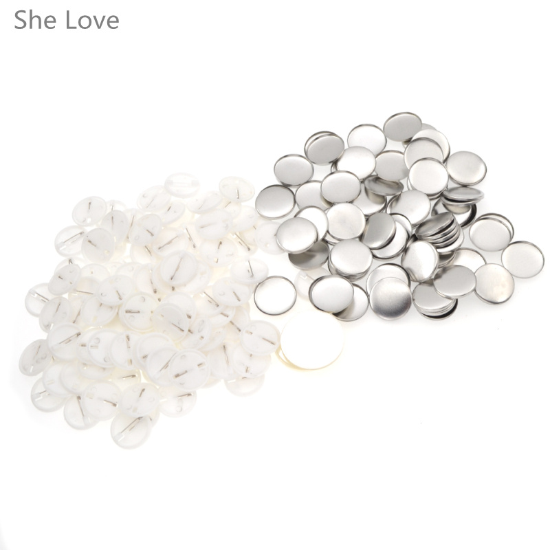 100pcs White Plastic Blank Pin Badge Parts Supplies for DIY Badge Craft Handmade Needwork Material Accessories