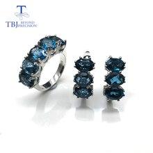 Doğal londra mavi topaz taş takı seti basit klasik yüzük ve küpeler 925 ayar gümüş kadınlar için hediye