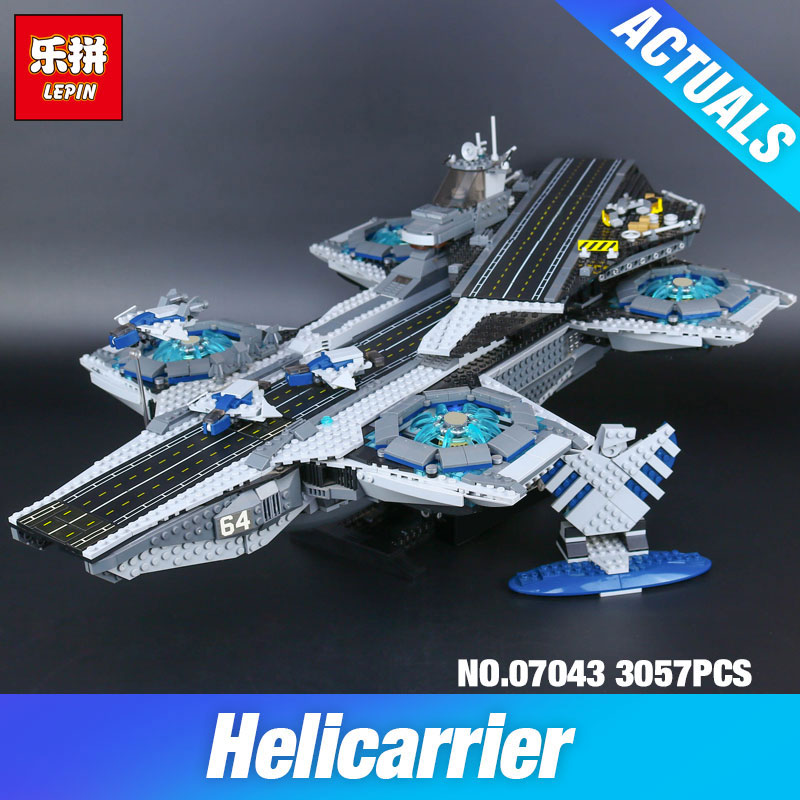 Stock Lepin 07043 Super Heroes The Shield Helicarrier Model Building Kits Blocks Bricks Toys Compatible 76042 DIY Children Gift building blocks super heroes back to the future doc brown and marty mcfly with skateboard wolverine toys for children gift kf197