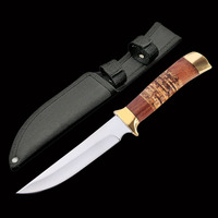 ToughKeng High Gardening 440c Steel Tactical Hunting Fixed Blade Knives Double Brass, Wood Handle Collection Straight Knife