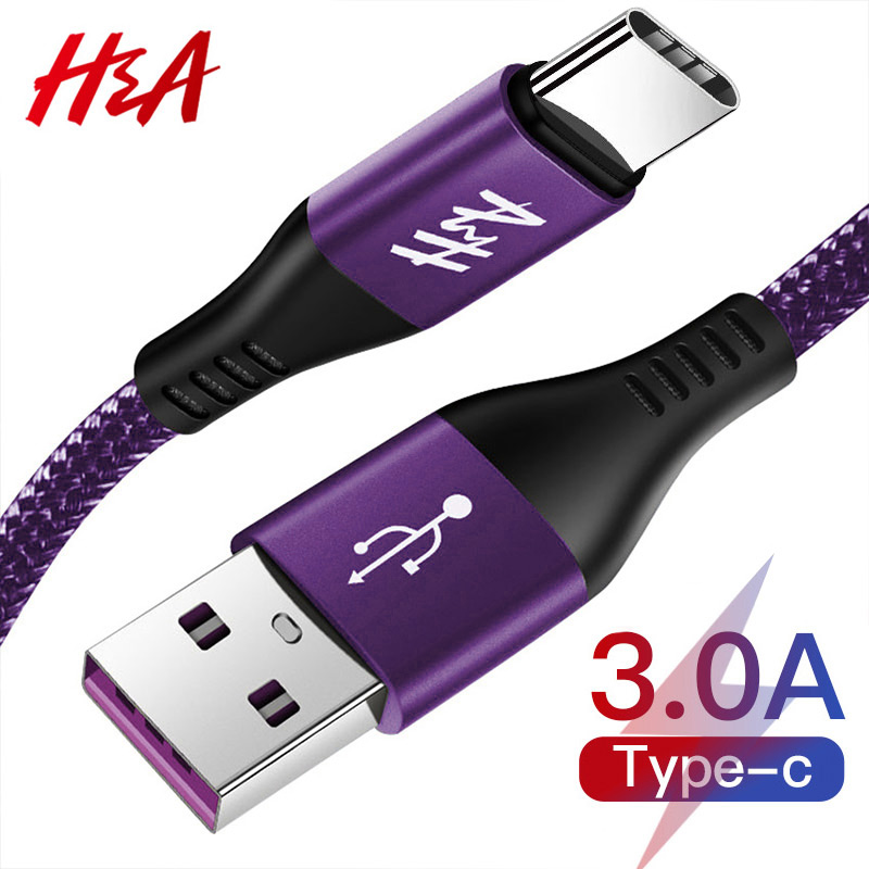 H&A 3A Type C USB Cable 1m 1.5m 2m Fast Charging Nylon USB Sync Data Mobile Phone Android