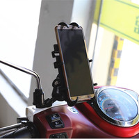 Motorcycle Aluminum Rear Mirror Mount Cell Phone mount with 1 inch ball for Gopro Cell Phone Smartphone Holder for Ram Mounts