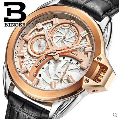 2017 Hot Sale Men Watches Top Brand Luxury Wristwatches Binger Military Leather Sports Watch Japanese Quartz Relogio Masculino