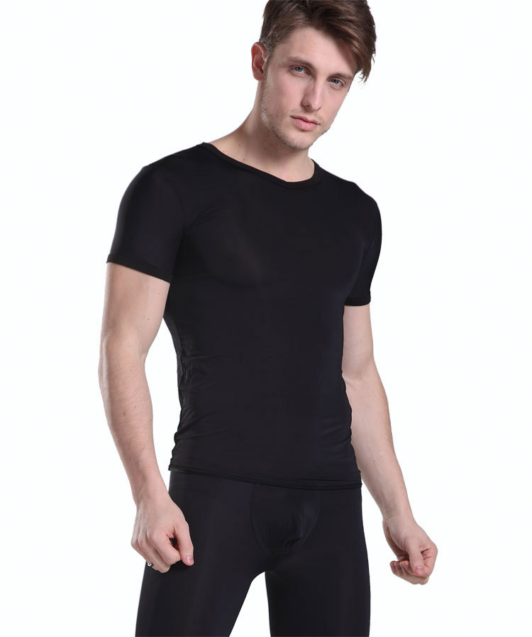 Manview Fashionable casual short-sleeve Sheer see Through V-neck  T-shirt low-waist sexy male tight capris Half Pants lounge set