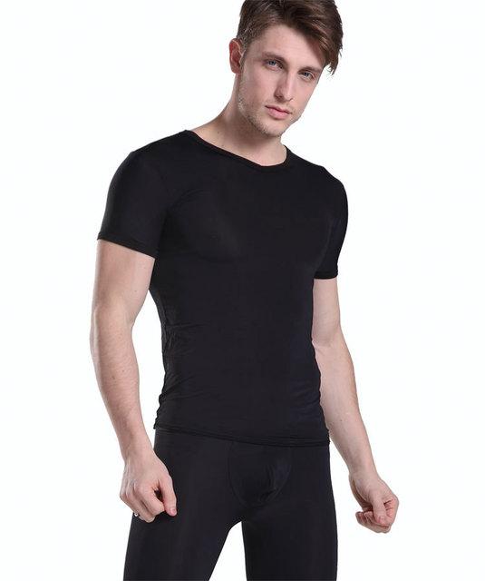 Manview Pura ver A Través de V-cuello de La Camiseta de manga corta ocasional de Moda bajo-cintura atractiva masculinos apretados Pantalones capris Medio conjunto de salón